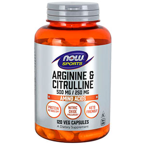 L-Arginine/Citrulline (500mg/250mg) - Now Foods